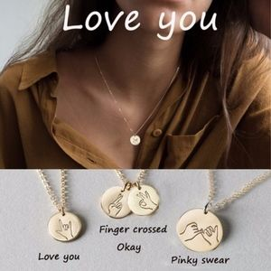 Jewelry - Pinky Promise ASL Round Circle Pendant Necklace